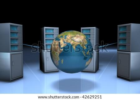 Computer server of websites 3d - stock photo