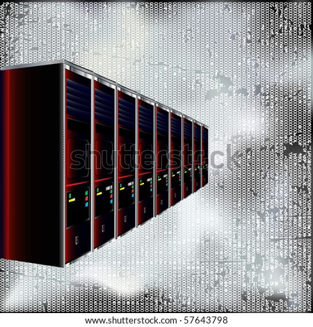 Computer Servers Bitmap Background - stock photo