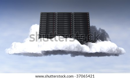 Computer servers embedded in the clouds with sky backdrop. - stock photo