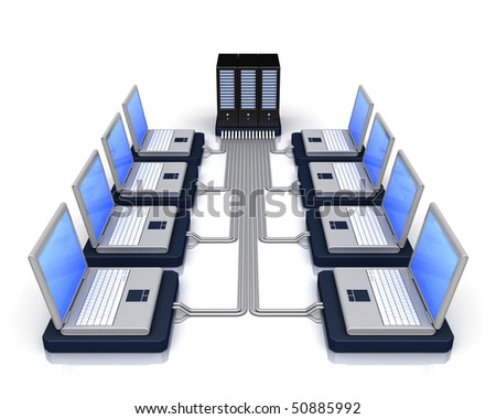 computer servers in perspective over a white background - stock photo