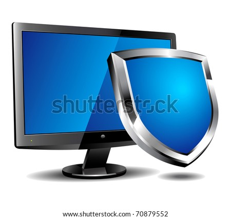 Computer shield - Vector file also available