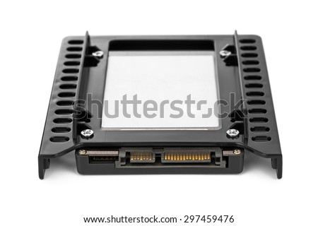 Computer SSD drive isolated on white background - stock photo