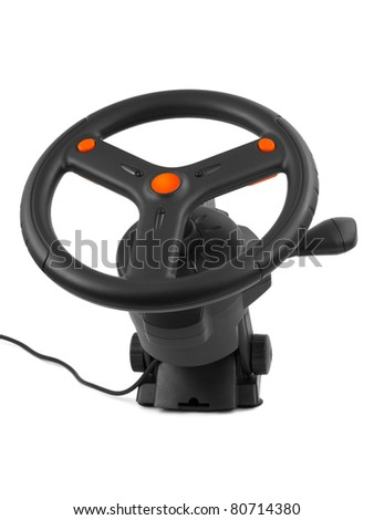 Computer steering wheel isolated on white background - stock photo