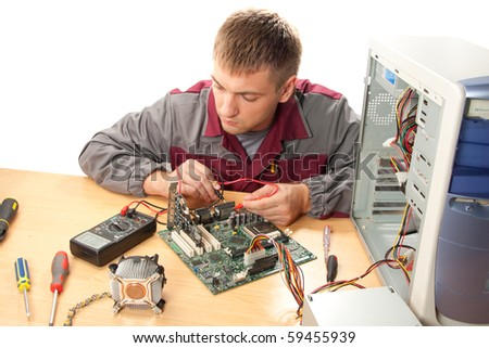 Computer support engineer. Isolated on white - stock photo