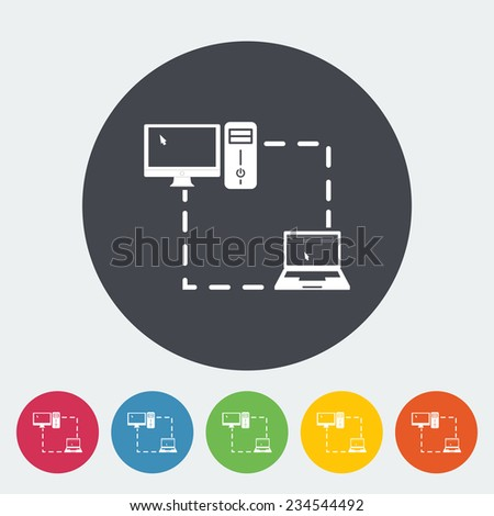 Computer sync. Single flat icon on the circle.  illustration. - stock photo