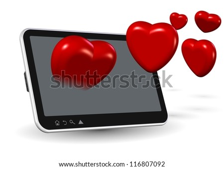 Computer tablet and number of red hearts coming out from it / Online love - stock photo