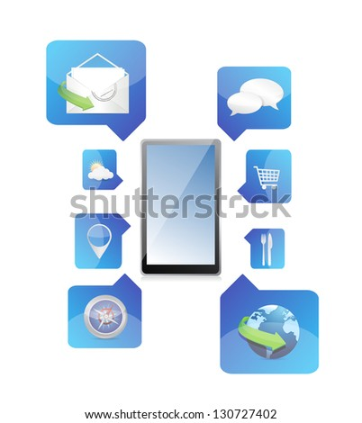 computer tablet application icon illustration design over a white background - stock photo