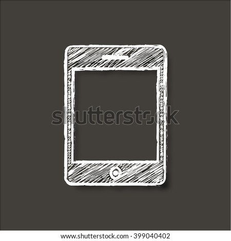 Computer tablet icon. illustration with chalk effect - stock photo