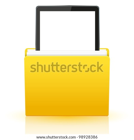 computer tablet in yellow folder. - stock photo