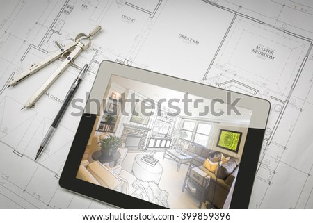 Computer Tablet Showing Living Room Illustration Sitting On House Plans With Pencil and Compass. - stock photo