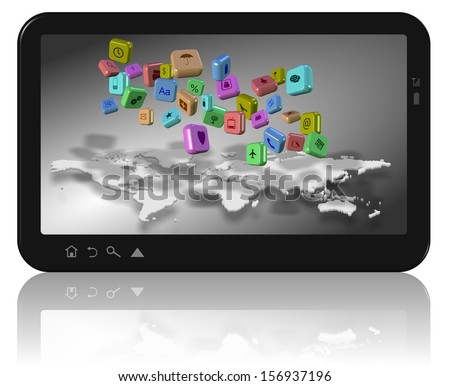 Computer tablet with world map and app icons on its screen / Social network apps - stock photo