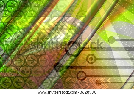 Computer technology elements with binary data leaks - green background - stock photo