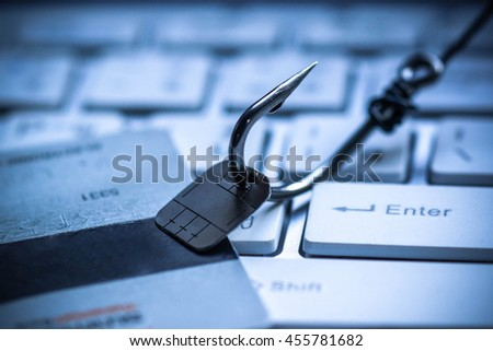 Computer threat. Credit card phishing attack on data chip - stock photo