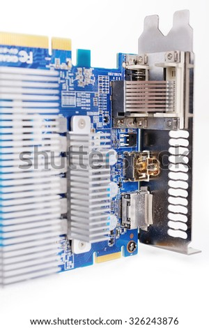 Computer videocard PCI express isolated on the white background. - stock photo