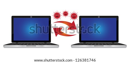 Computer Virus and Network Security Concept Present By Computer Laptop Transfer Red Virus Isolated on White Background - stock photo