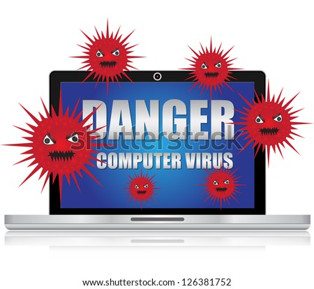 Computer Virus and Network Security Concept Present By Computer Laptop With Red Virus and Danger Computer Virus Text on Screen Isolated on White Background - stock photo