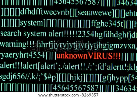 Computer Virus on a screen - stock photo