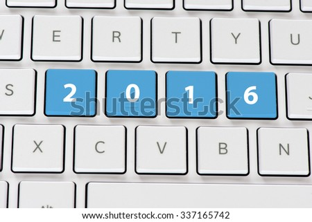 Computer white keyboard with 2016 - stock photo