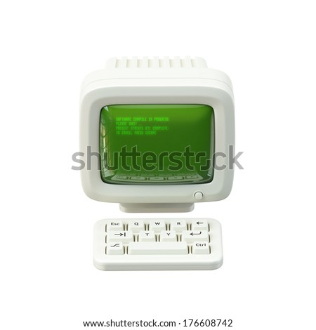 Computer with Keyboard Icon - stock photo