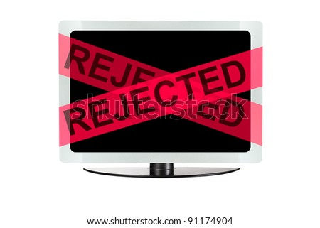 Computer with red rejected tape - stock photo