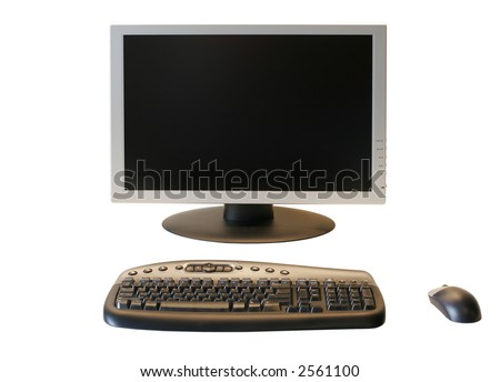 Computer with Wireless Mouse and Keyboard - stock photo