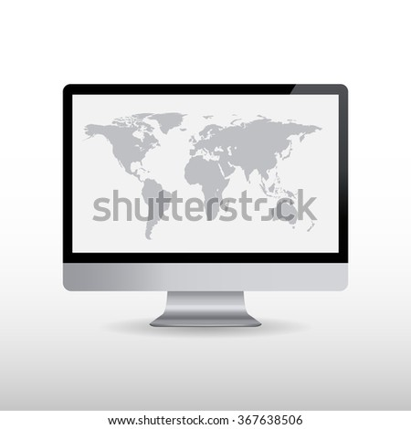 Computer with world map on screen. illustration  - stock photo