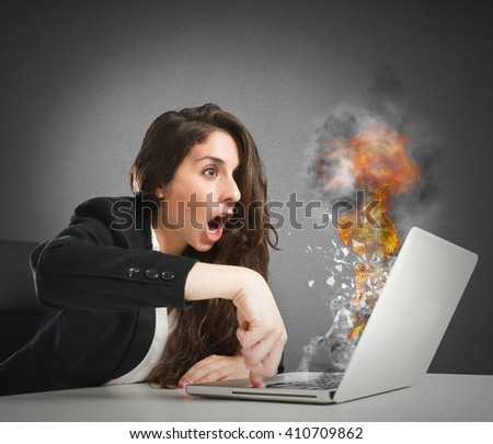 Computer work overload - stock photo