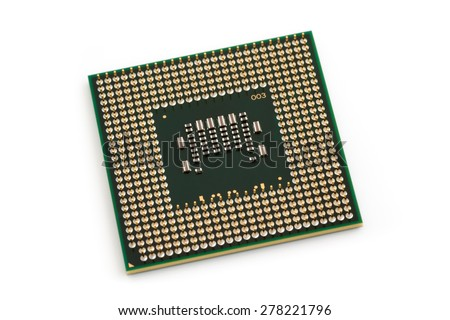 Computer x86 Processor - modern central processing unit (CPU), isolated on white background - stock photo