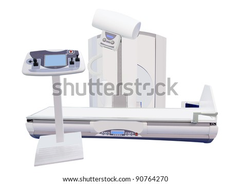 Computerized Axial Tomography scanning and it's operating console under the white background - stock photo