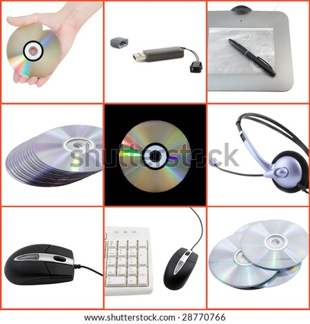 Computers accessory's -DVD's,headphone,computer keyboard, pad. - stock photo