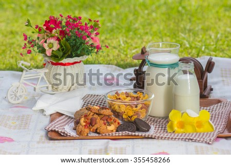 Con-flex  and milk for breakfast. - stock photo