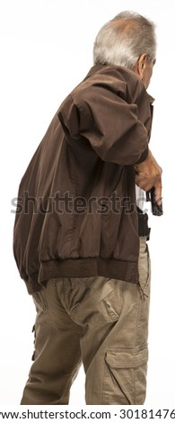 Concealed Gun Carry | PERSONAL DEFENSE | Back view of a man legally carries a firearm in a holster for protection. - stock photo