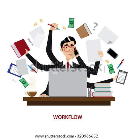Concentrated and calm multitask office man | raster version - stock photo