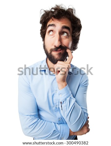 concentrated young man doubting - stock photo