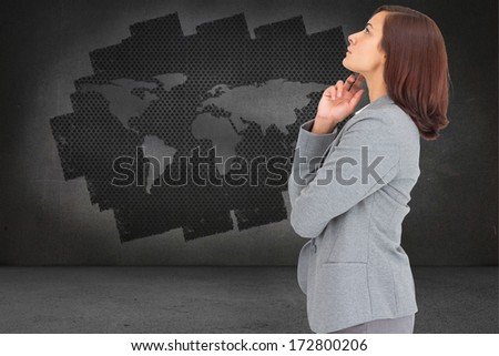 Concentrating businesswoman against steps leading to open door in the sky - stock photo