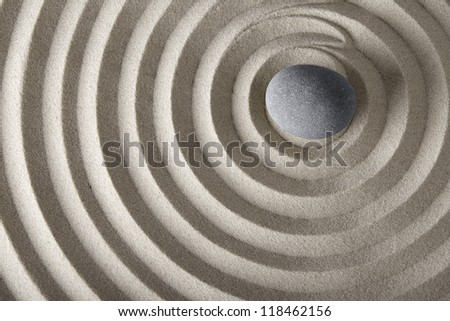Concentration And Spirituality In Japanese Zen Garden Spa Background With  Stone And Circles In Sand Concept