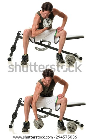 Concentration curl exercise. Studio shot over white. - stock photo