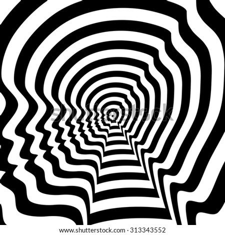 Concentric abstract symbol, boy profile - optical, visual illusion - stock photo