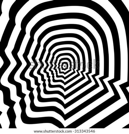 Concentric abstract symbol, man profile - optical, visual illusion - stock photo