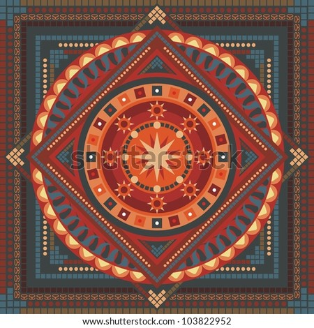 Concentric spiritual mandala pattern with abstract elements - stock photo