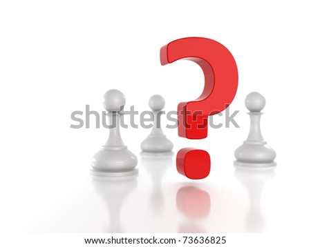 Concept: absence of leader; Red question mark among white pawns - stock photo