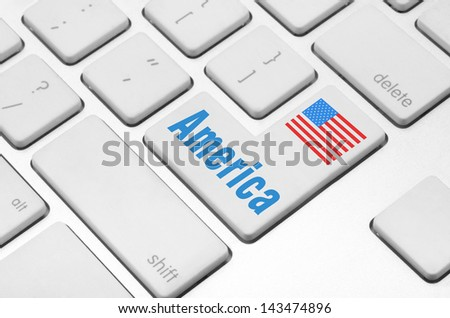 concept: America key on the computer keyboard - stock photo