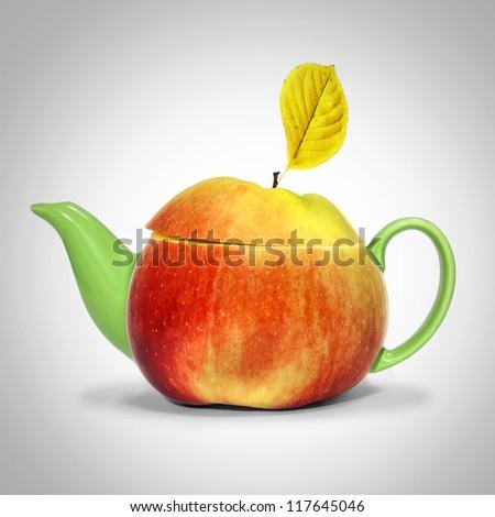 Concept apple tea - stock photo