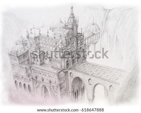 Concept art fantasy building in pencil sketching illustration