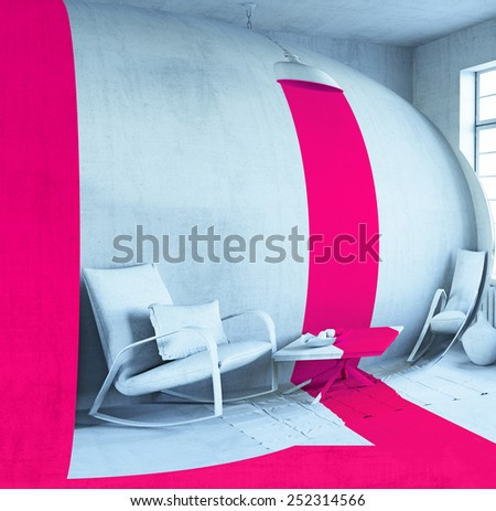 concept art - style interior. 3d rendering - stock photo
