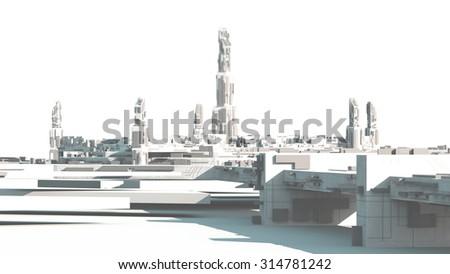 concept background Scifi Cityscape from future - stock photo
