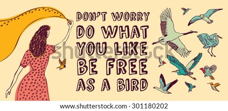 Concept banner about freedom creative. Color  illustration. - stock photo