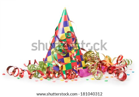 Concept birthday celebration - a hat and serpentine  - stock photo