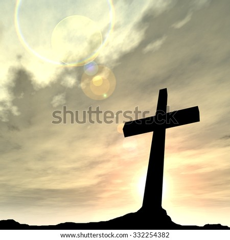 Concept black cross or religion symbol silhouette in rock landscape over a sunset or sunrise sky with sunlight clouds background  for God, Christ, Christianity, religious, faith, Jesus or belief