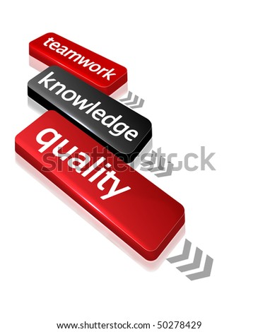 concept box in plastic style with teamwork, knowledge and quality text - stock photo